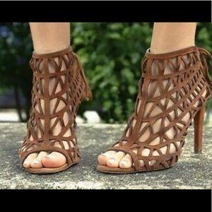 Zara Brown Suede Caged heels. Size 40